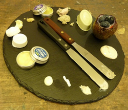 Lush products arranged on a slate
