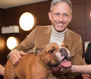 Designer Patrick Cox with Caesar at the launch party of The Pet Spa at Harrods