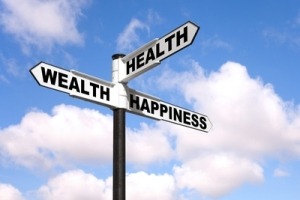 Signpost to the path to health and happiness