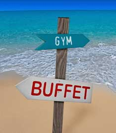 One sign points to the gym, the other to the buffet