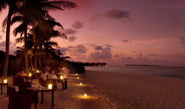 The restaurant on the beach, Medium Rare, at The Beach House at Iruveli Maldives