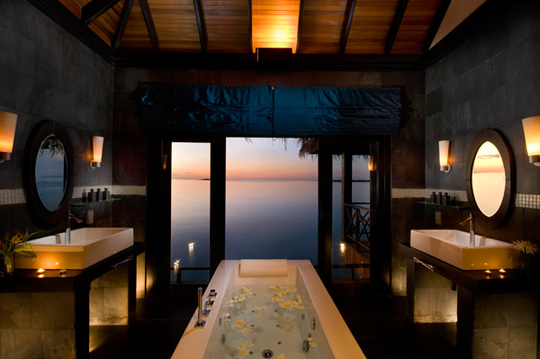 The bathroom in the Grand Water Pavilion at The Beach House at Iruveli Maldives