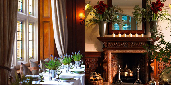 The dining room and cosy lounge at Grayshott Spa, Surrey