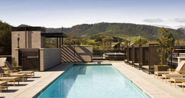 The pool at Bardessono, with views onto the Napa Valley