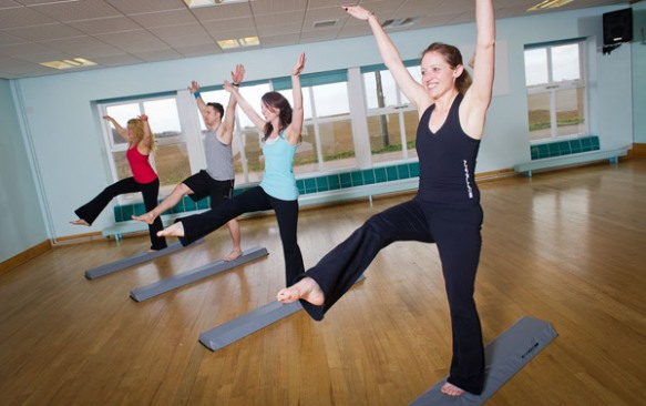 A beam fitness class at Ragdale Hall, Leicestershire