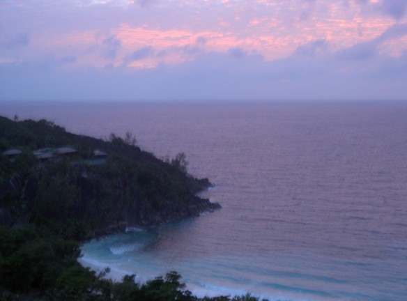Sunset from the rooftop of the spa  Four Seasons Seychelles