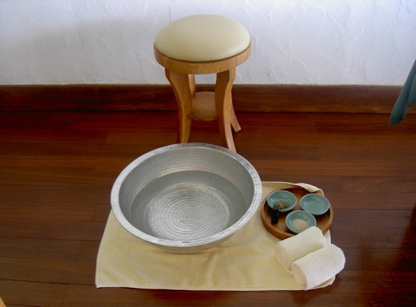 Ingredients for a foot ritual at the Meera Spa